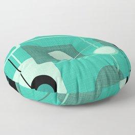 Orbs and Squares (aqua) Floor Pillow