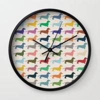 dachshund Wall Clocks featuring Dachshund by Opul