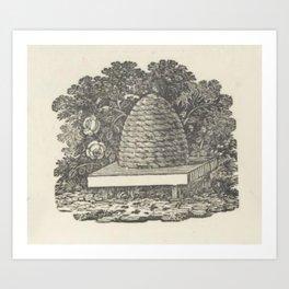 Beehive Woodcut Art Print