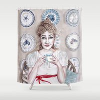 sia Shower Curtains featuring Madam Porcelain by Sia Ritar