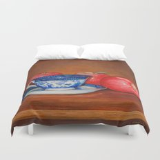 Teacup with Three Apples Duvet Cover