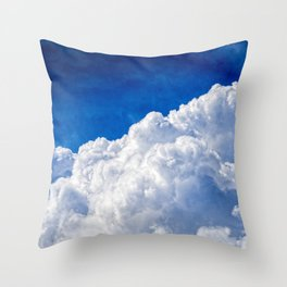 White Cumulus Clouds In The Blue Sky Throw Pillow