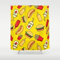 junk food Shower Curtains featuring tasty food by los_ojos_pardos