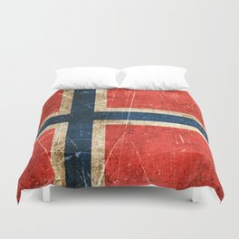 Vintage Aged and Scratched Norwegian Flag Duvet Cover