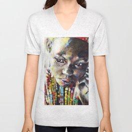 Reverie - Ethnic African portrait Unisex V-Neck