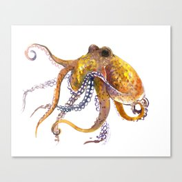 Octopus, orange red gold underwater scene octopus lover design, beach Canvas Print