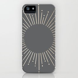 Simply Sunburst in White Gold Sands on Storm Gray iPhone Case