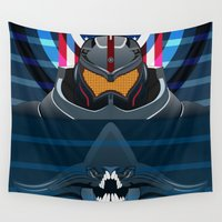 jaws Wall Tapestries featuring Pacific Rim, Jaws edition by milanova