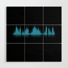 Cool Blue Graphic Equalizer Music on black Wood Wall Art