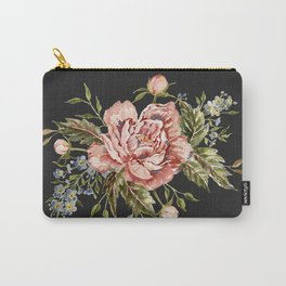 Pink Wild Rose Bouquet on Charcoal Carry-All Pouch
