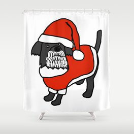 Cute dog dressed in a Santa suit, Santa hat and white beard Shower Curtain