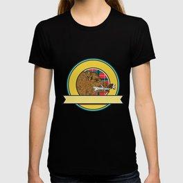 Wild Boar Razorback Bone In Mouth Circle Drawing T-shirt