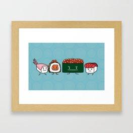 Happy Sushi Brothers rice Japanese shrimp salmon Framed Art Print