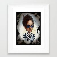 tim burton Framed Art Prints featuring tim burton by John Martinez Art