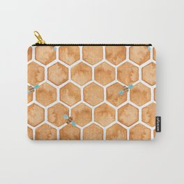 Honey Bee Hexagons Carry-All Pouch