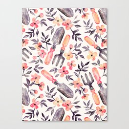 Spring Gardening - peach blossoms on cream Canvas Print