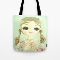 doll Tote Bags featuring DOLL  by Vintage  Cuteness