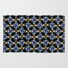 Spring Flower Rubber Stamp Pattern Design (Black Background) Rug