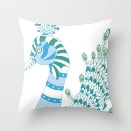 Robot Peacock Throw Pillow