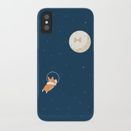 Fly to the moon _ navy blue version iPhone Case