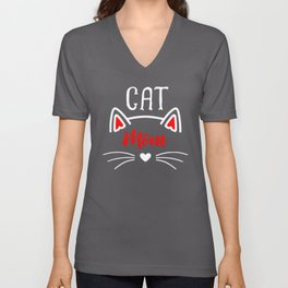 Cat Mom Heart Nose Ears and Whiskers wh Unisex V-Neck