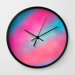Modern Girly Bright Pink Blue Paint Daub Art Wall Clock