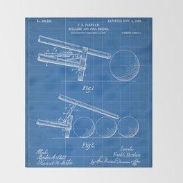 Pool Bridge Patent - Pool Art - Blueprint Throw Blanket