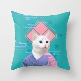 Geisha cat 02 Throw Pillow