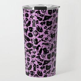 Alphabet Compendium Letter Silhouette Pattern - Pink Travel Mug