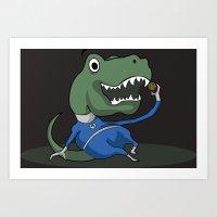 trex Art Prints featuring Fantastic Mr. TRex [dark] by Megan Yiu