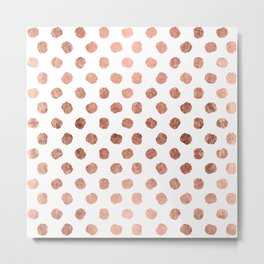 Stylish rose gold polka dots brushstrokes pattern Metal Print