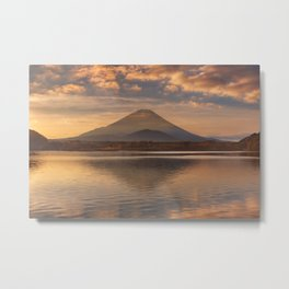 Mount Fuji and Lake Shoji in Japan at sunrise Metal Print