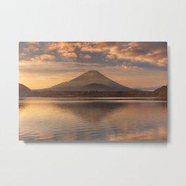 Mount Fuji and Lake Shoji in Japan at sunrise Metal Print
