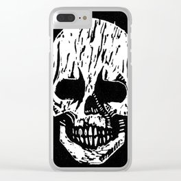 Woodcut Skull Clear iPhone Case