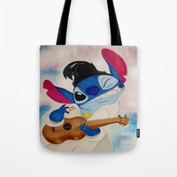 lilo and stitch Tote Bags featuring Stitch by Goolpia