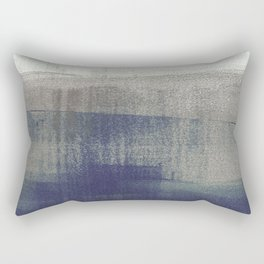 Navy Blue and Grey Minimalist Abstract Landscape Rectangular Pillow