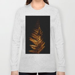 Minimalist Brown Autumn Fern Leaf Black Background Foliage Photography Long Sleeve T-shirt