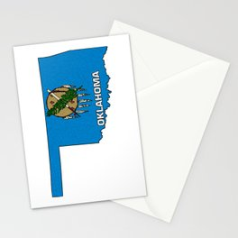 Oklahoma Map with State Flag Stationery Cards
