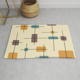 Rounded Rectangles And Squares Gold Brown Teal Rug