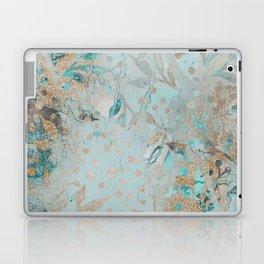 Pastel Botanical Watercolor Pattern Teal Gold Glitter Laptop & iPad Skin