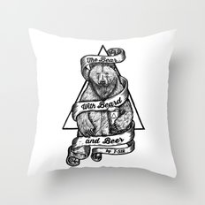 The Bear with Beard and Beer Throw Pillow