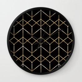 Golden pattern on black. Wall Clock