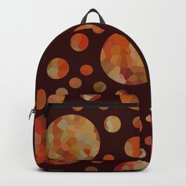 Orange Circles Against Dark Red Backpack