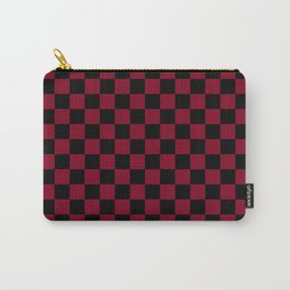 Black and Burgundy Red Checkerboard Carry-All Pouch