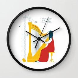 Woman harpist Wall Clock
