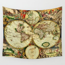 Ancient World Map 1689 Wall Tapestry