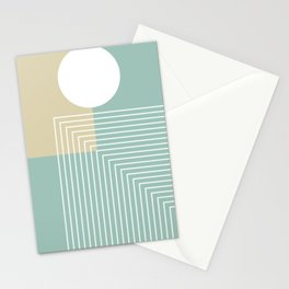 White Sun - Geometric Mid-Century Minimalist Stationery Cards