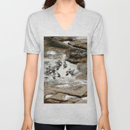Sandpipers feeding in a tide pool Unisex V-Neck