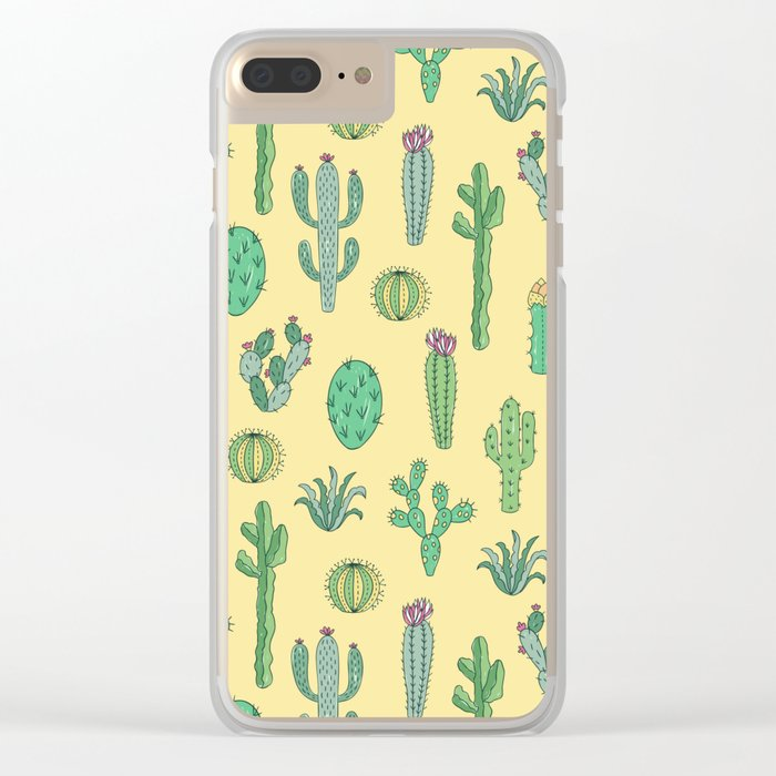 Cactus Pattern Yellow Clear iPhone Case