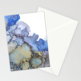 Alcohol Ink Art Handmade Indie Art Painting Blue Teal Gold Stationery Cards